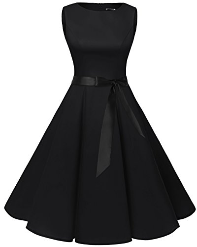 Bbonlinedress 1950s Retro Vintage Swing Rockabilly Floral Party Cocktail Dress Black M