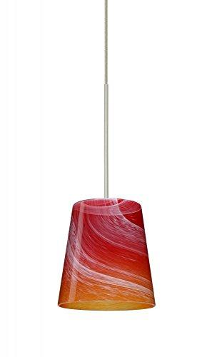 Besa Lighting 1XT-5131SL-LED-SN 1X6W Led Lightsource Canto 5 Pendant with Solare Glass, Satin Nickel Finish