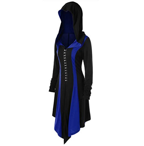 Femmes Slim Veste Fnkdor Automne Fit Manteau Bleu Parka Capuche Longues Trench Ourlet coat Cosplay Hiver Épaise Manches Avec Chaudes Asymétrique 8qtrtw5