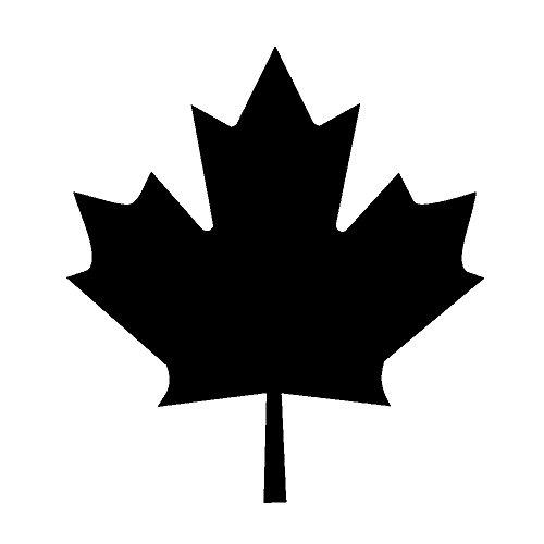 OwnTheAvenue Canadian Maple Leaf Canada Vinyl Flag Window Laptop Bumper Decal Sticker Choose Size & Color (Black, 3