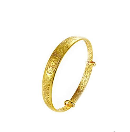 loyoe jewelry Womens Expandable Lucky Bangle Adjustable Engraved Dragon & Phoenix Bracelet for Wedding Engagement Lady's Bangle ()