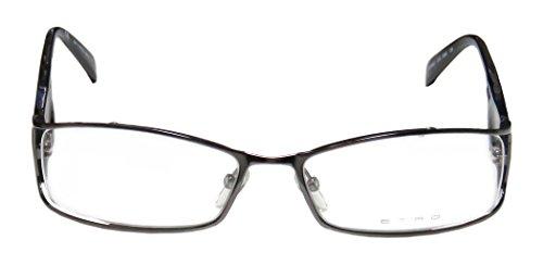 Etro Ve9631 Mens/Womens Designer Full-rim Spring Hinges Eyeglasses/Eyewear (55-17-135, Gunmetal / Black / Clear - Eyewear Etro