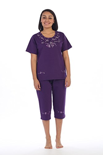 Butterfly Capri Set - unik Women's Short Sleeve Embrodiered Butterflies Blouse and Matching Capri Set, Purple Size 2XL