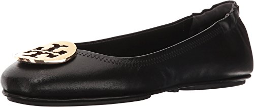 Burch Leather - Tory Burch Minnie Leather Travel Ballet Flat (7.5, Perfect Black / Gold)