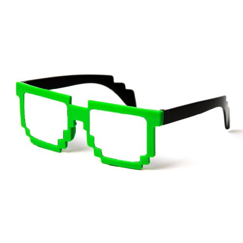 MJ Boutique's 8-Bit Pixel Two Tone Green and Black Pixelated - Cartoon Bans Ray