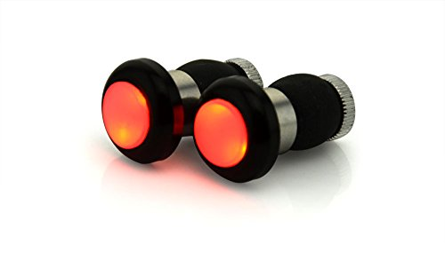 BicycleStore® 1 Pair Mountain MTB Bike Bicycle Handlebar Lamp LED Flashing Bar End Plugs Front Handle Grip Light Safety Turn Signal Lamp Cycling Accessories Red Black (black)
