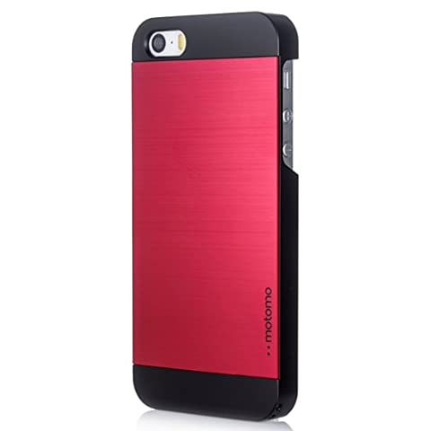 iPhone 5C Case, MOTOMO [Red] iPhone 5C Case Aluminum [Brushed Aluminum] Metal Cover Protective Case - Verizon, AT&T, Sprint, T-Mobile, International, and Unlocked - Case for iPhone 5C - Retail Packaging - Wine Red/Black (Aluminum Metal Iphone 5c Case)