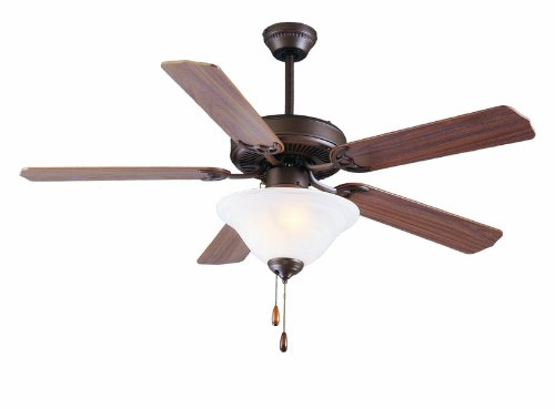 5 Blade Swirl Ceiling Fan (Royal Pacific Lighting 1057OB Traditional Royal Star 5 Blade Ceiling Fan with Frost Swirl Glass Bowl Light Kit, 52