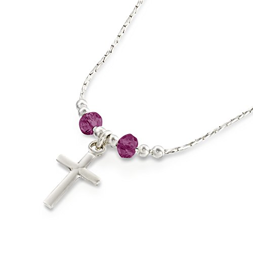 Girls Cross Pendant Made with Original Swarovski Purple Crystals 925 Sterling Silver Necklace, 16