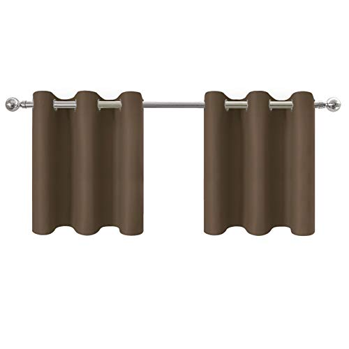 Aquazolax Blackout Small Window Valances Cafe Curtains - Light Reducing Thermal Insulated Blackout Curtains Small Sized Drapes Tailored Tier, 42W by 24L Inches, Toffee Brown, 1 Pair ()