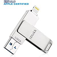 iDiskk USB 3.0 128GB iPhone Lightning Flash Drive for iPhone 6,iPhone 6s,iPhone 6 Plus,iPhone 5,iPhone 7 Plus, iPad, iPod,iPhone External Storage iPad USB,Touch ID Encryption and Apple MFI Certified