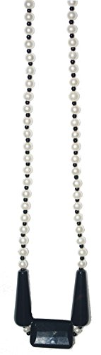 Semi Precious Fashion Black Onyx and Imitation White Pearl Women Beaded Necklace 22' Long- Mother's day gift ideas