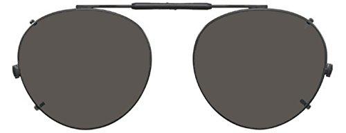 Visionaries Polarized Clip on Sunglasses - Round - Gun Frame - 50 x 45 Eye Size