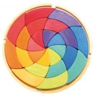 Grimm's Large Circle of Goethe - Wooden Waldorf Color Wheel Pattern Puzzle Blocks in Storage Tray