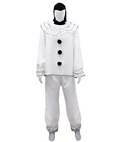 Scary Female Jester Costumes - Men's Vintage Pierrot Clown Costume |