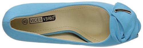 Escarpins ouverts bleus à talons de 9,5cm et décor Noeud