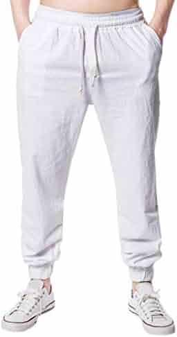 Allywit Summer Men Big and Tall Casual Harem Pants Capri Jogger Fitness Elastic Waist Trousers Linen Pants