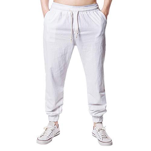 (YAYUMI Summer Men's Fashion Casual Pants Wide Leg Pants Cotton Hemp Solid Color Casual Trousers White)