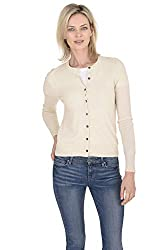 Cashmeren Women S 100 Pure Cashmere Classic Knit Soft Button Front Long Sleeve Crew Neck Cardigan Sweater Ivory Medium