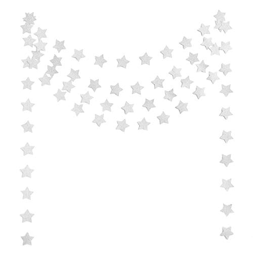 Silver Star Decorations For Parties - 6 Pack Glitter Silver Star Paper