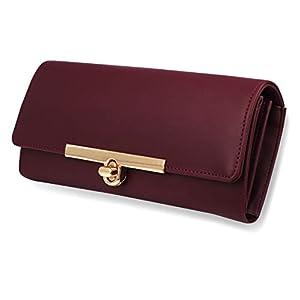 Women's Maroon Hand Clutch Wallet Purse