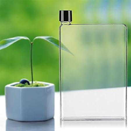 Botellas de agua de plástico a prueba de fugas, planas y delgadas, vasos de agua transparentes, portátiles, 750 ml, color blanco