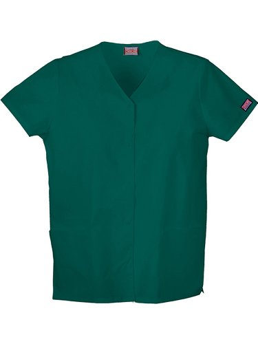 Cherokee Women's Workwear Scrubs Snap Front V-Neck Top, Hunter, (Snap Front Scrub Top Hunter)