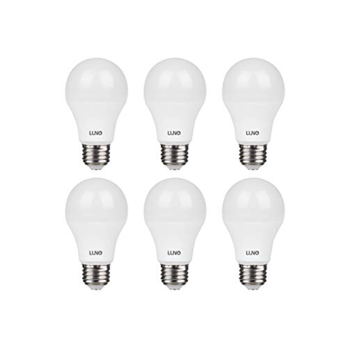 LUNO A19 Non-Dimmable LED Bulb, 11W (75W Equivalent), 1100 Lumens, 5000K (Daylight), Medium Base (E26), UL Certified (6-Pack)