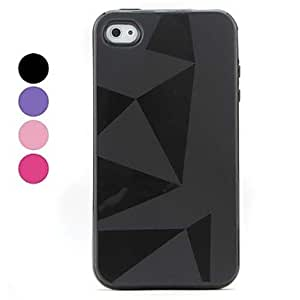 ZCL Simple Style Triangle Pattern Soft Case for iPhone 4 and 4S , Red