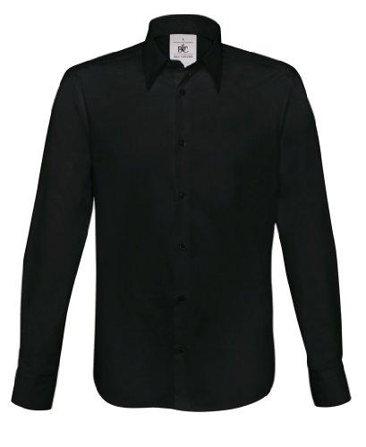 Stretch langarm Hemd London, Farbe:Black;Größe:XXL
