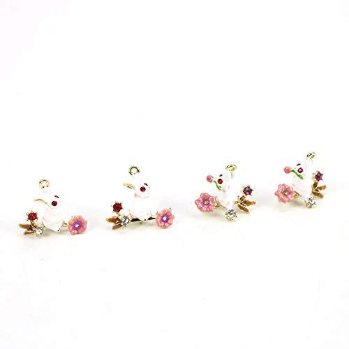 Monrocco 4Pcs Enamel Rabbit Charms Pendant Alloy Animals Charms for Making Necklace Bracelet Earrings ()