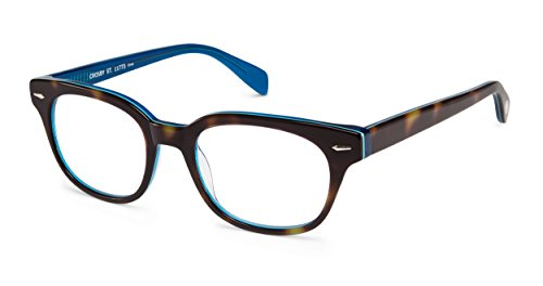 Crosby Street - Rounded Square Trendy Fashion Reading Glasses for Men and Women - Tortoise/Blue (+1.25 Magnification Power) (Street Reading Glasses Scojo)