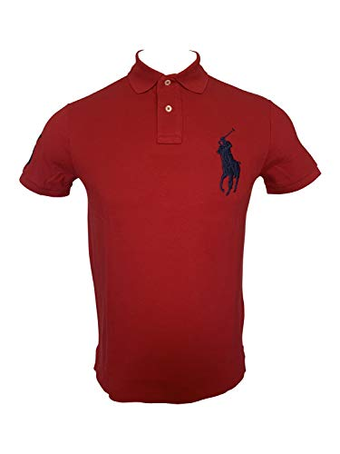 Polo Ralph Lauren Mens Big Pony Mesh Polo Shirt Short Sleeve Custom Slim Fit Polos (Small, Red/Navy Pony)