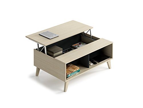 Habitdesign 0Z6633R - Mesa de Centro elevable con revistero Incorporado, Color Roble y Antracita, 100 cm (Largo) x 41/53 cm (Alto) x 68 cm (Fondo)