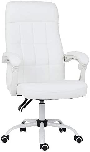 High Back Swivel executive Chair, Bonded Leather Office Chair with ergonomic auto rebounder, White