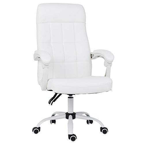 High Back Swivel executive Chair, Bonded Leather Office Chair with ergonomic auto rebounder, White -