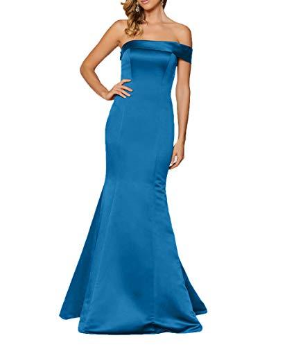 Satin Blau Meerjungfrau Abendkleider Lang Abschlussballkleider Braut La mia 2018 Ballkleider Elegant Einfach Partykleider Etuikleider IwqaOxp6