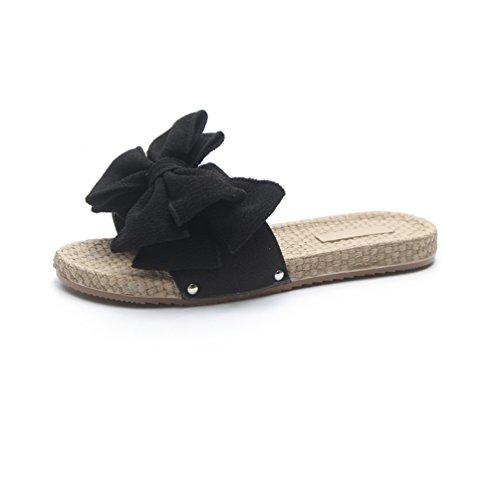 Chaussure Sandale Été Plats Sandales Nœud Plage Casual Ouvert Bout Noir1 Talons Femmes Claquettes XaqpS