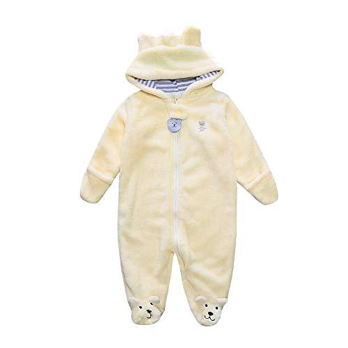 Unisex Infant Coral Fleece Warm Bodysuit Baby Boys Girls Cartoon Bear Footie Zip Up Romper Coverall Jumpsuit