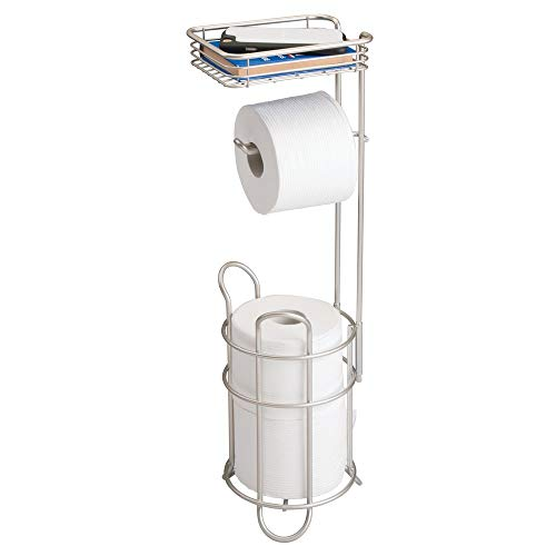 (mDesign Freestanding Metal Wire Toilet Paper Roll Holder Stand and Dispenser with Storage Shelf for Cell, Mobile Phone - Bathroom Storage Organization - Holds 3 Mega Rolls - Satin )