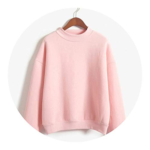 M-XXL 9 Crs Autumn Winter Pullover Loose Fleece Thick Pure Sweatshirt,Pink,M (Kenya Sofa)