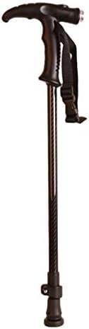 杖 ステッキ高齢者杖歩行杖 伸縮ステッキ軽いハンドルカーボンシャフトの引き込み式の高さの高齢者杖ライト付きハンドル 高さ調節可能夜間散歩 歩行補助