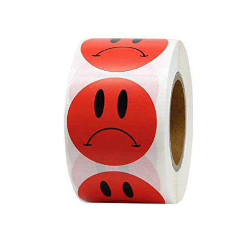 (Hcode Unhappy Face Stickers Roll Sad Frown Face Stickers Circle Dots Labels for Teachers 500 Pieces per Roll)