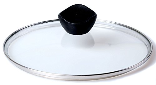 (ETHDA Tempered Glass Lid, Fits Cookware of 10.5 inch, Universal Replacement For Frying Pan, Pot, Cast Iron Skillets, Wok, Instant Pot, Clear, with Steam Vent Hole, Bakelite Handle Knob (26cm))