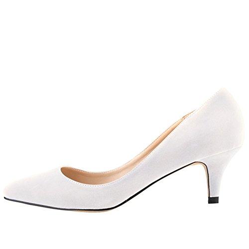 Scarpe Da Donna Con Tacco Basso A Forma Di Velluto Classico A Punta Tacco Basso Bianche