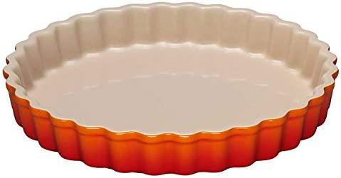 LE CREUSET 91015928090100 Molde para Tartas, Ø 28 cm, Cerámica de gres, Naranja(Volcánico)