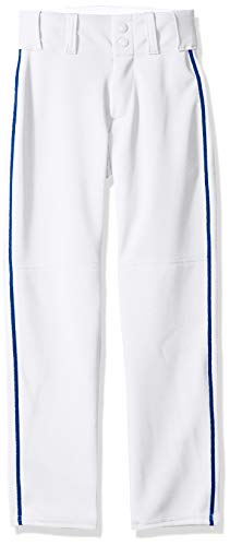 Alleson Ahtletic Boys Youth Baseball Pants with Braid, White/Royal, - Athletic Youth Alleson Belt