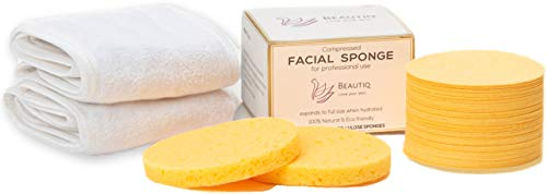 Facial Sponges (50 Count) and 2 Bonus Spa Headbands | 100% Natural Beautiq Compressed Cellulose Face Sponges | Great for Cleansing, Gentle Exfoliating and Removing Makeup