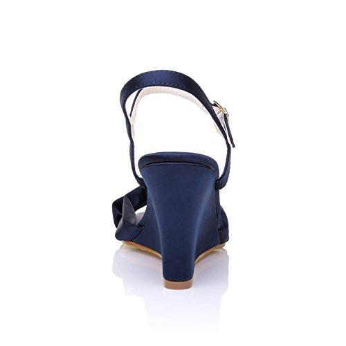 Haute Moulantes Mariée Chaussures Satin Ange Talon Bleu En Compensé De Marine vnwY6