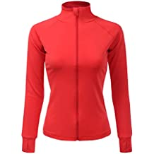 Doublju Womens Active Slim Fit Full Zip Jacket with Thumb Holes